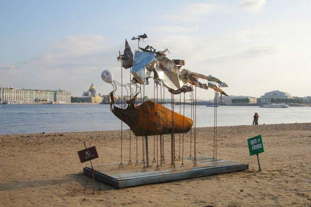 Полет мысли,скульптура ,пляж Петропавловская крепость,,Open Cinema