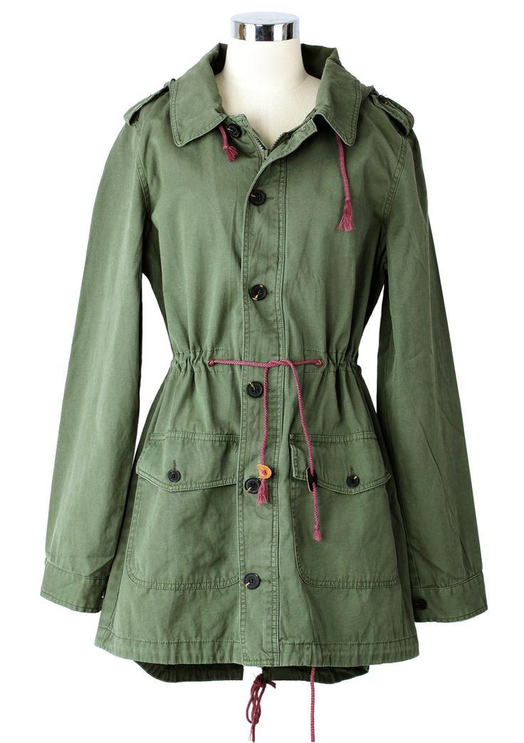 ++ Armygreen Military Style Hooded Parka Coat