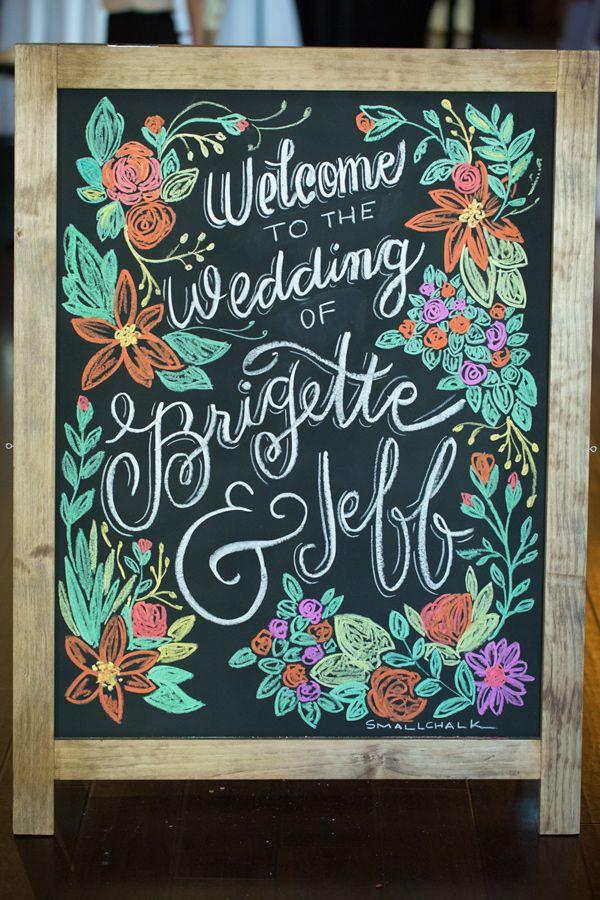 colored chalk wedding sign, photo by GK Photography http://ruffledblog.com/notwedding-new-orleans #weddingideas #signs