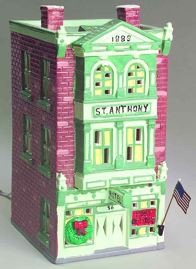Snow Village St Anthony Hotel & Post Office - No Box by Department 56