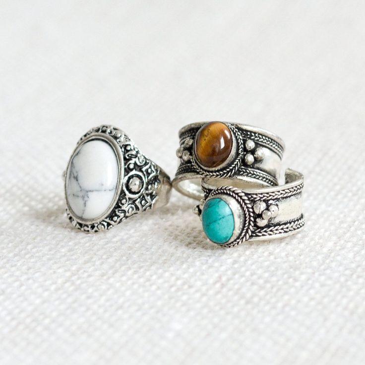 Tibetan Turquoise Jewel Boho Trinket Ring
