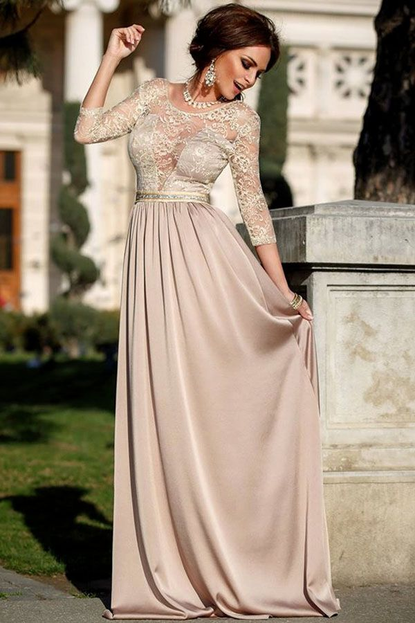 Sleeved Lace Embroidery Silky Long Dress