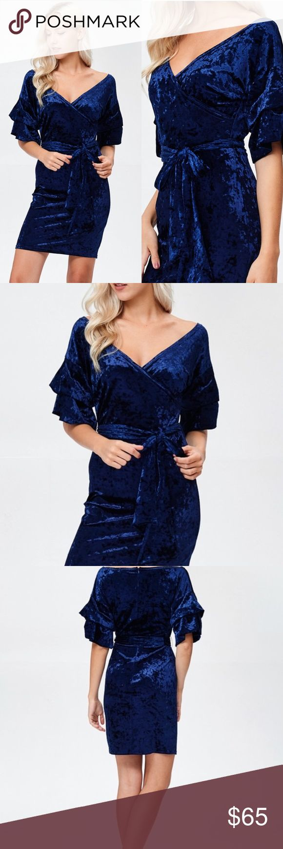 Royal Blue Ice Velvet Tiered Sleeve & Tie Waist Royal Blue Ice Velvet Tiered Ruched Sleeve Surpliced Wide Neck Dress With Waist Tie.  Price is Firm No Trades Glamvault Dresses