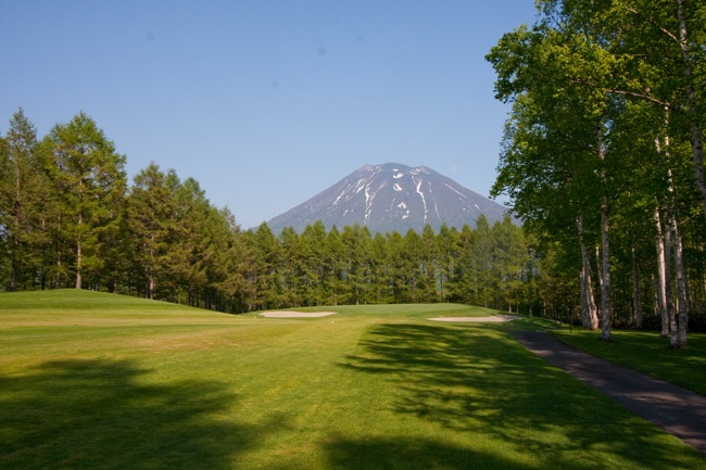 The approach to the green on the par 5 second hole at Niseko Village Golf Course.