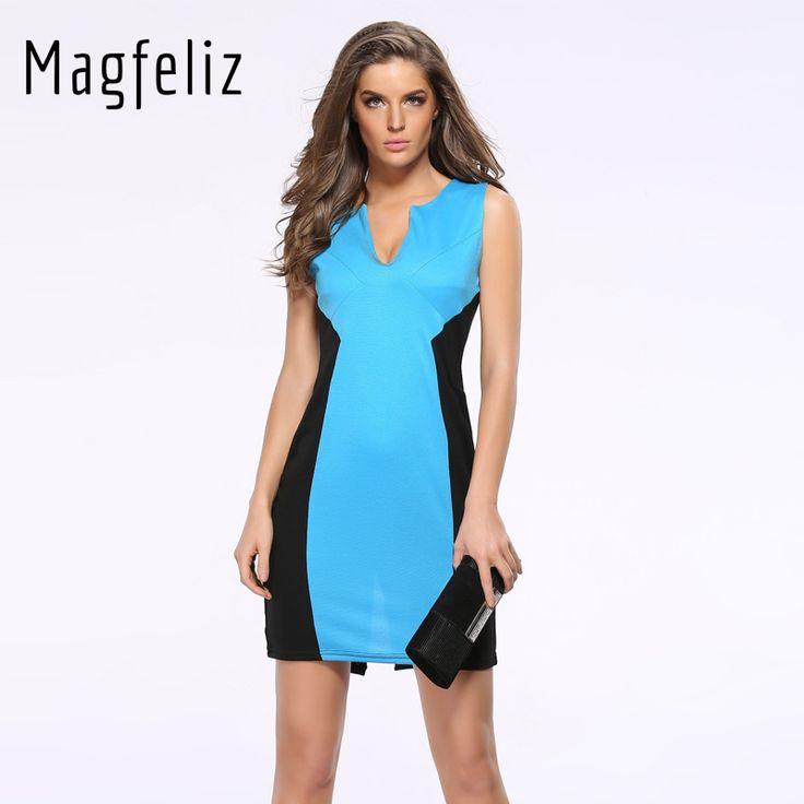 Magfeliz 2017 Summer Sexy Women V-Neck Pencil Sleeveless Dress Vestito Casual Mini Dresses 601