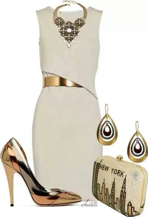 Work outfit - White dress with metallic accessories, shoes, purse, belt & jewelry.