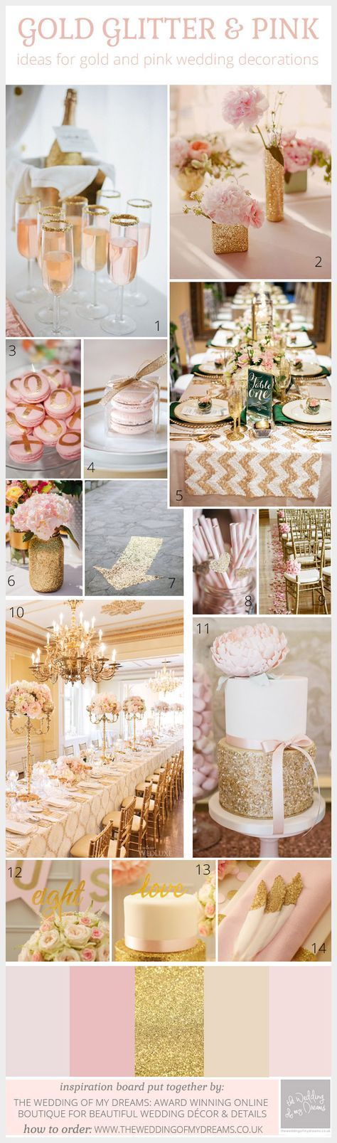 Pink And Gold Glitter Wedding Inspiration Board and Decoration Ideas. Gorgeous gold glitter and lustre papers available from ImagineDIY. DIY wedding stationery supplies