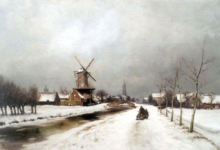 Delft in de winter, olieverf op doek 56,0 x 80,2 cm