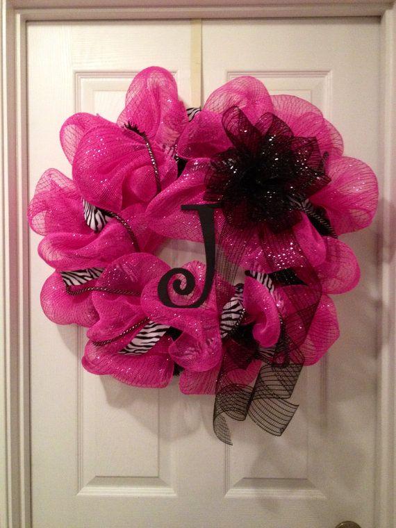 Hot Pink Zebra Wreath by TheZebrasStripe on Etsy, $59.00