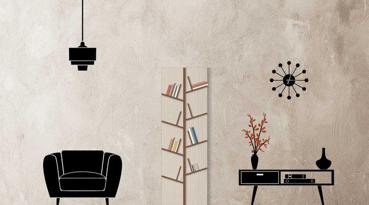 Libreria design a parete Arbor. Originale libreria a muro che richiama a forme e colori naturali arricchendo piacevolmente l'arredamento di casa.