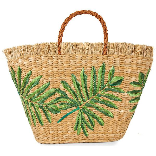 Aranaz Planta straw tote (2.618.665 IDR) ❤ liked on Polyvore featuring bags, handbags, tote bags, straw tote bags, pocket tote, beige tote bag, fringe handbags and embroidered tote bags