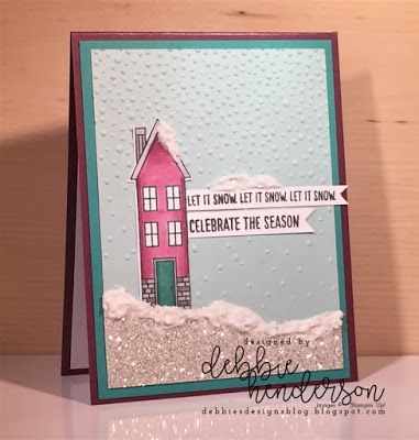 Debbie's Designs: Merry Monday Challenge #274 using Stampin' Up! Holiday Home Stamp Set and Happy Scenes, Homemade Holiday Framelits Dies, Blends Alcohol Markers and Embossing Paste. Debbie Henderson #merrymonday #merrymondaychallenge #debbiehenderson #debbiesdesigns #blends #embossingpaste #holidayhome #happyscenes #homemadeholiday