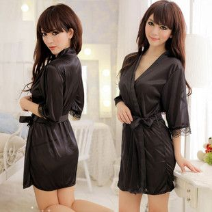 Spring and summer ladies sexy lingerie transparent robe silk Japanese robes night skirt temptation lace black