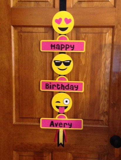 Emoji faces birthday party door sign. I have 4 different faces you can choose which 3 you would like on the sign. If you do not select which 3 you will receive it just like pictured.  Great to greet your party guests. Each tier is 10 1/2 wide and each Emoji die cut is 5 . Made using acid free cardstock, ribbon and there is a metal hook to hang your banner. Banner is 37 long.  If you would like matching decorations I can do that also. favor tags, cupcake toppers, banners, balloon holders.  Be…