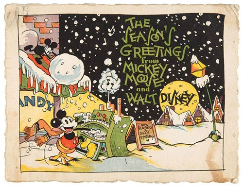 The first-ever Disney Corporate Christmas card, featuring Mickey Mouse!