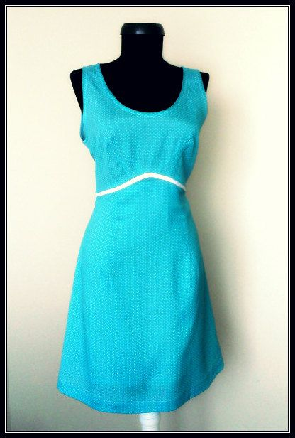 Printed Dots Turquoise Viscose Summer Dress by PrincipessaLabel, $45.00