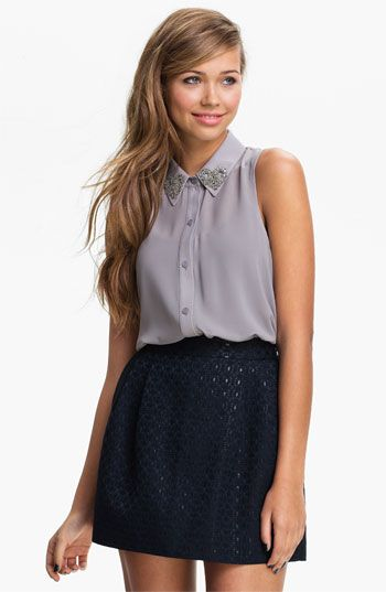 Lush Embellished Collar Sleeveless Shirt (Juniors) available at #Nordstrom  I think my mommy may need to get a nordstrom card so I can acquire such adorable clothes