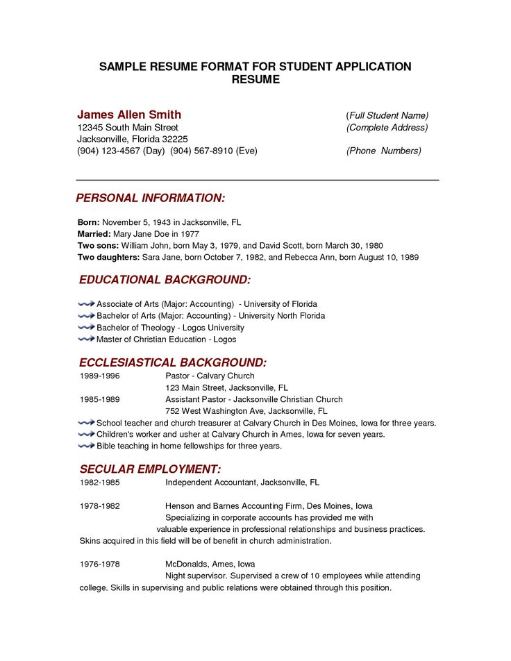 The 25+ best Basic resume format ideas on Pinterest Best cv - format of a resume for applying a job