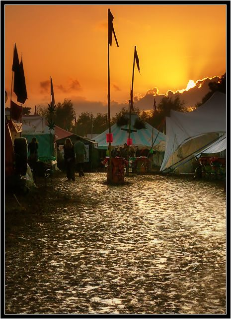 Sunset at the Glastonbury Festival.