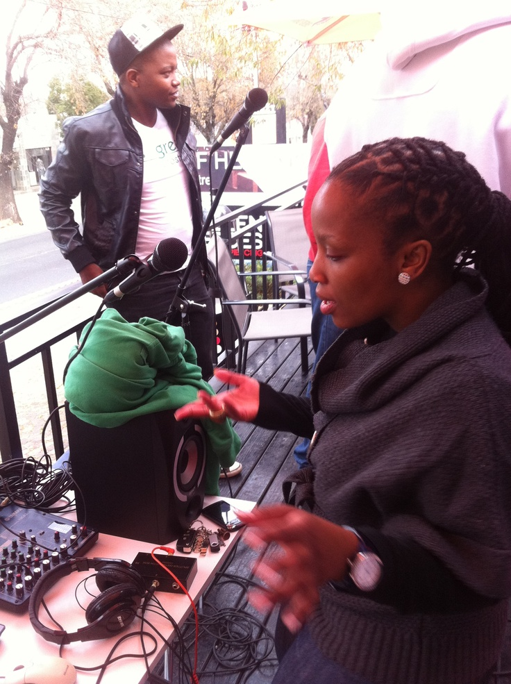 One half of the #TheBeat180 @LeratoTJ doin that thing at the June 16 Live Outside Broadcast
