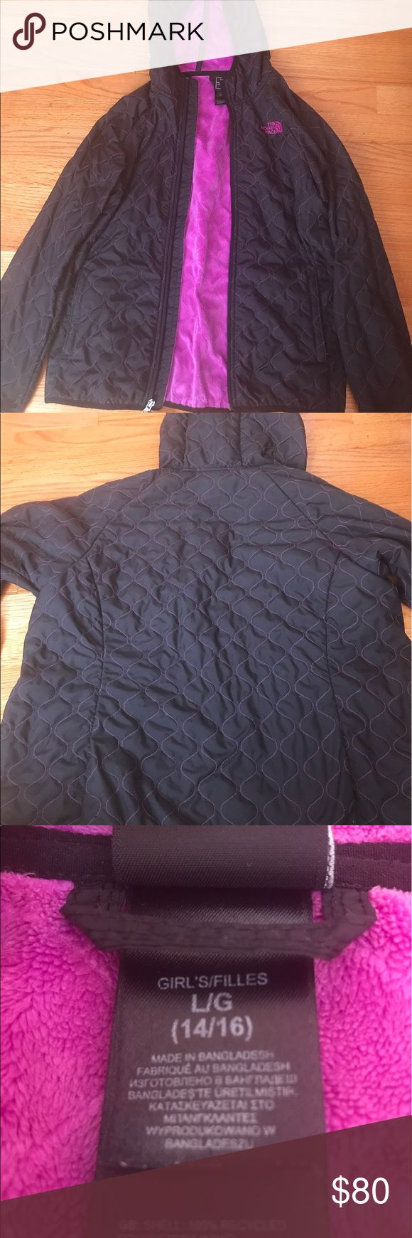 Girl's North Face weatherproof jacket Outside is black with a little purple going through it and inside is a purple soft layer! The North Face Jackets & Coats Raincoats