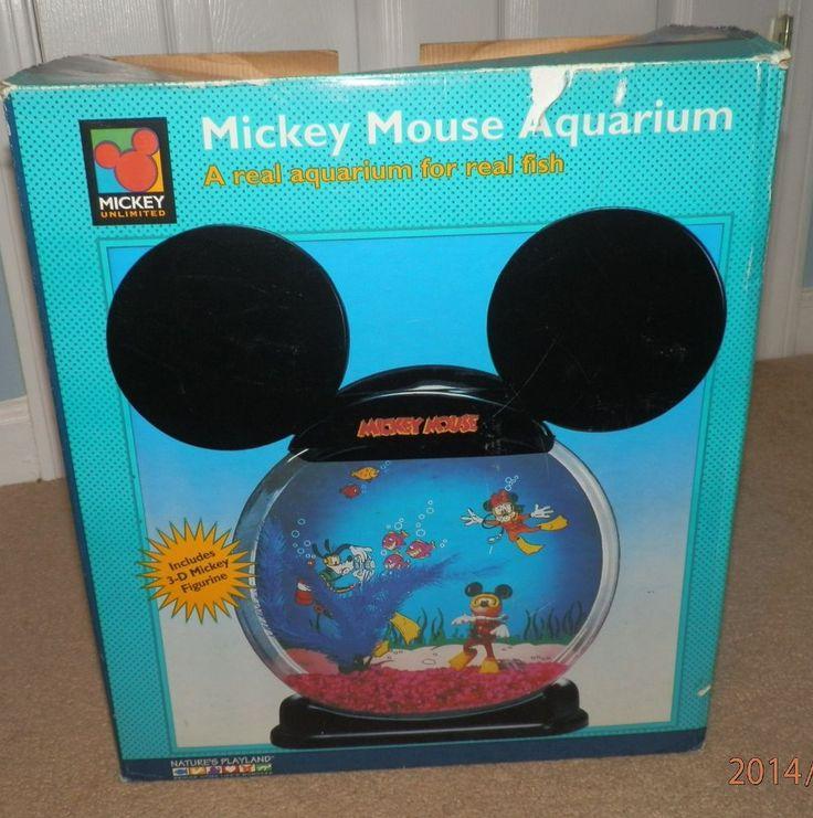 Western Bedroom Tank Toy Box Or: Disney Mickey Mouse Plastic Aquarium Fish Tank Bowl In Box