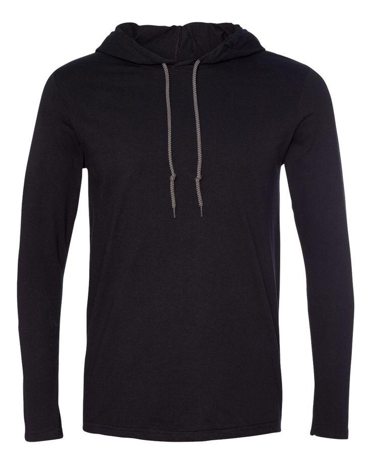 Anvil Ladies Lightweight Long Sleeve Hooded Fashion TShirt plain pullover hoodie