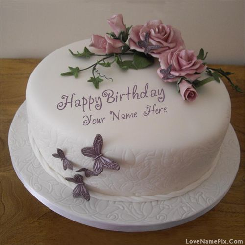 Birthday Cake With Name Tahir ~ Butterfly roses birthday cake with name photo happy wishes cakes