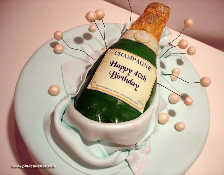 40th Birthday Champagne Cake Cakes Pinterest 40th ...