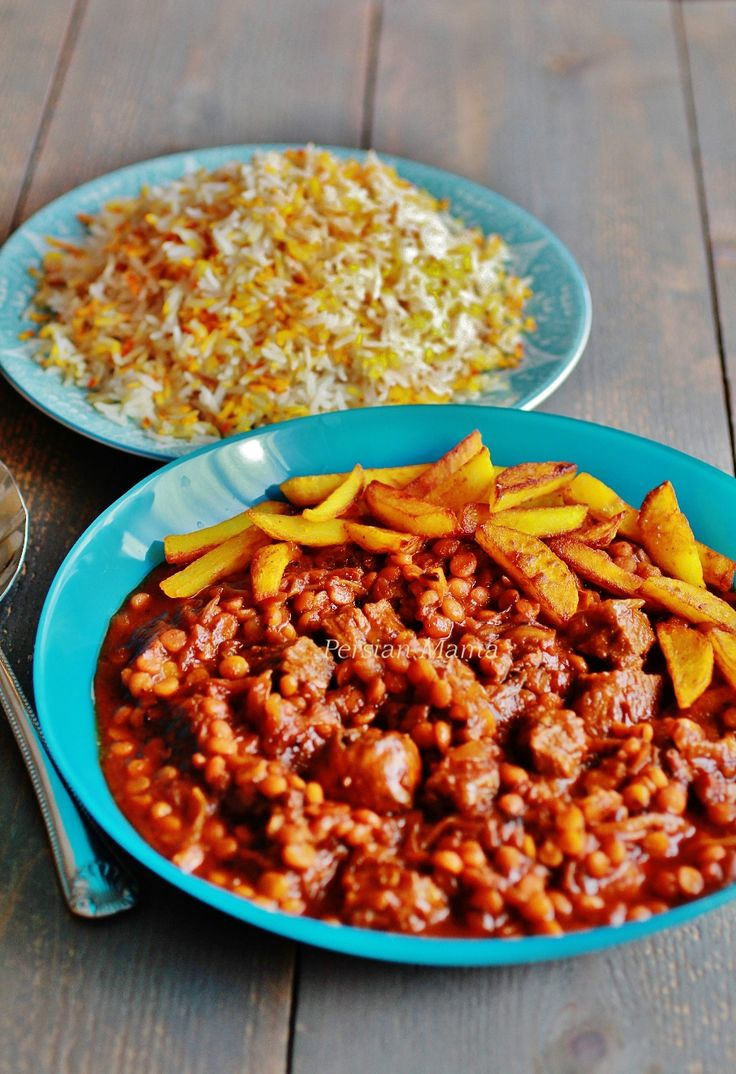 Khoresh Gheymeh - Beef and Split Pea Stew with Limoo Amani and spices, served over aromatic rice, then topped with golden saffron fries