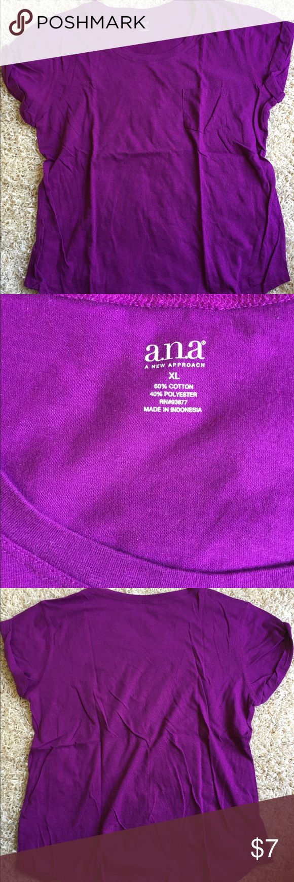 ANA Solid Purple Short Sleeve Top Rolled Sleeves excellent used condition! always washed to brand standards. never put in the dryer. has the cutest pocket and rolled sleeves! 💜💜 a.n.a Tops Tees - Short Sleeve