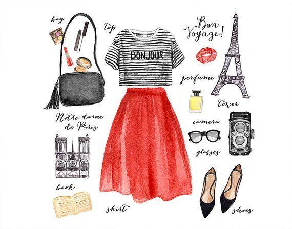 Watercolor Fashion Illustration Paris Fashion Clip Art Fashion