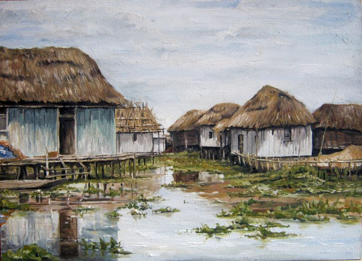 Village, oil painting