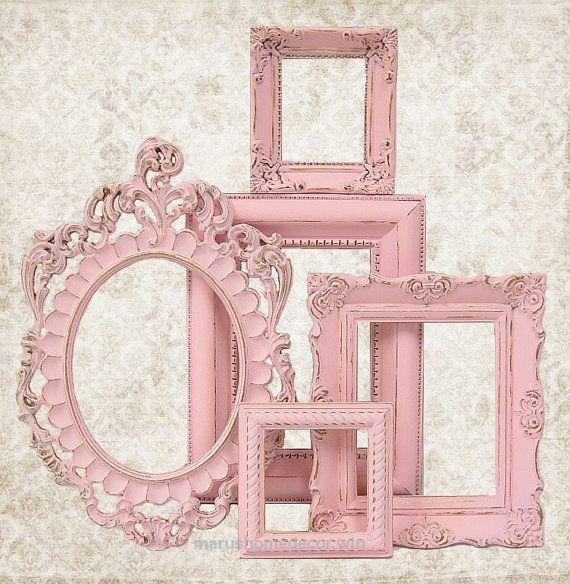 Lovely Shabby Chic Picture Frame Pastel Pink Picture Frame Set Ornate Frames Wedding Nursery Shabby Chic Home Decor via Etsy The post Shabby Chic Picture Frame Pastel Pin ..