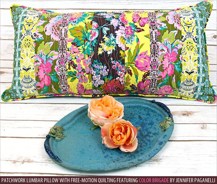 Patchwork Lumbar Pillow with Free-Motion Quilting