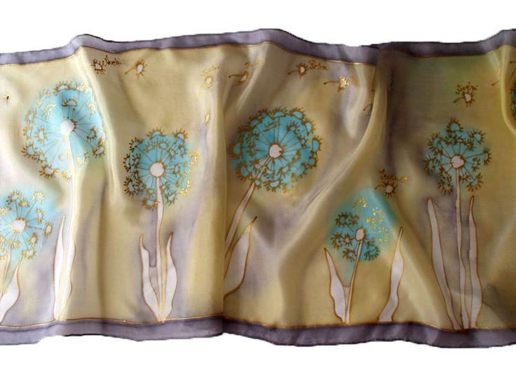 Egyedi, kézzel festett selyem sálak, kendők a ballagó csoport, osztály, iskola nevéből - Pitypang csoport selyemsála