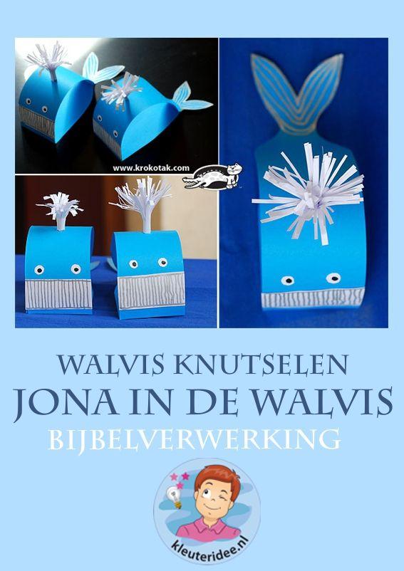 Jona in de walvis, walvis knutselen verwerking, kleuteridee.nl, free printable