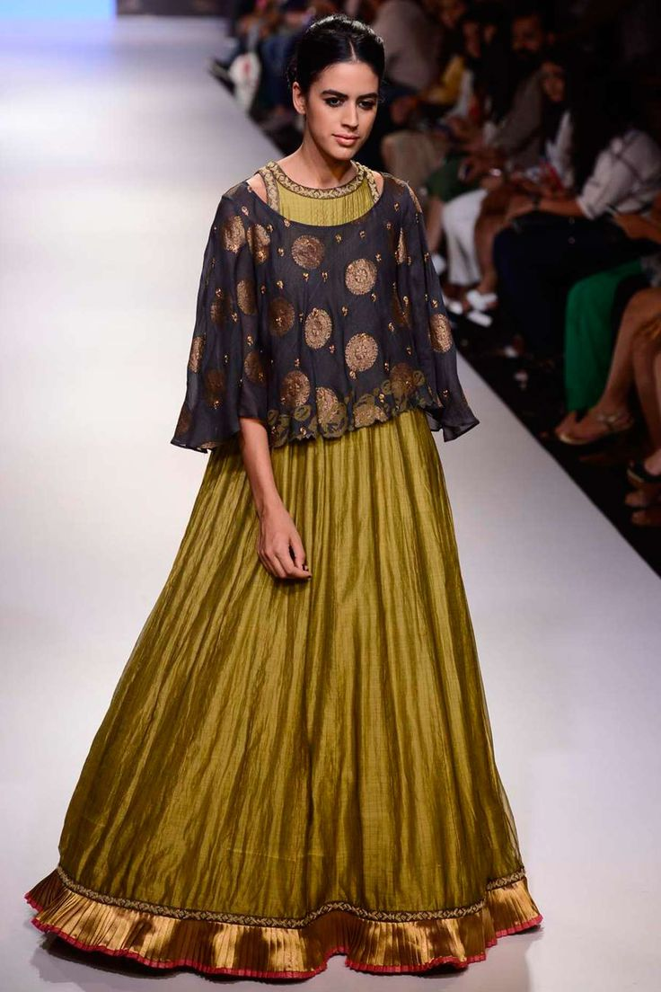 Olive green anarkali with navy embroidered cape available only at Pernia's Pop Up Shop.