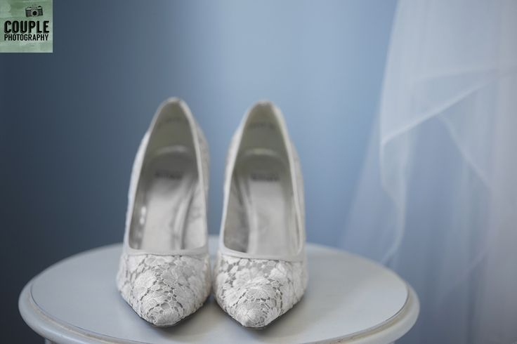 The bride's lace wedding shoes. Weddings at Tankardstown House by Couple  Photography.