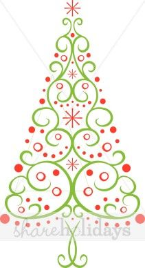 Multi Christmas Tree Clipart - could cut tree from paper like a snowflake