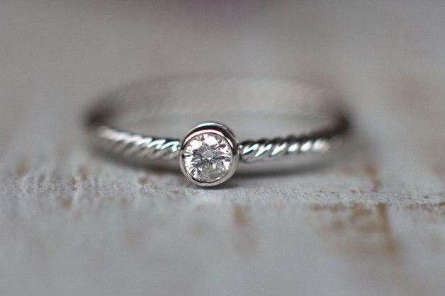 0,10 CT Pierścionek zaręczynowy z diamentem - arpelc - Pierścionki zaręczynowe