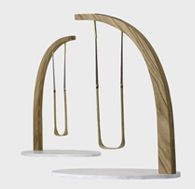 The curving beam design is for a sculptural swing in a garden or courtyard space. The Oak stem rises, curving and tapering elegantly to become the support for a swinging seat. The design works well standing alone or as a collection of swings, arranged in a sweeping line or a cluster. The swings are a tall and dramatic garden feature as well as being fun for all. 2.7m tall and 1.5m wide