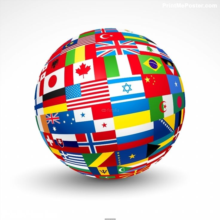Poster of World flags sphere Vector illustration