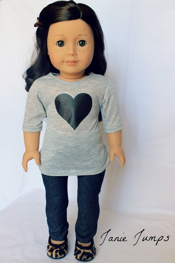 Heart T-Shirt - American Girl Doll Clothes. Love this heart outfit by Janie Jumps! Original patterns available at pixiefaire.com.