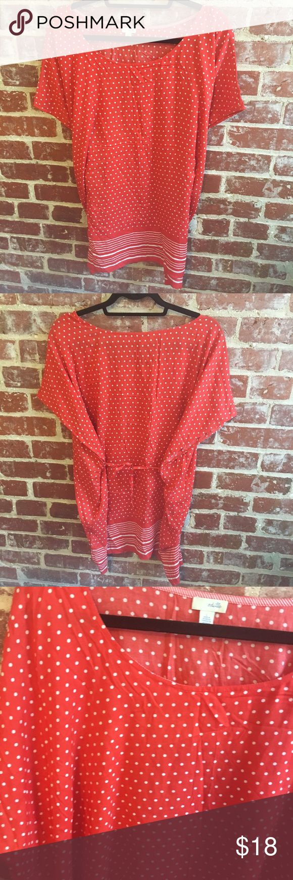 Anthropologie Odille Red Polka Dot Top Size large. Ties in back. Arms dip low. So pretty! Anthropologie Tops Tees - Short Sleeve