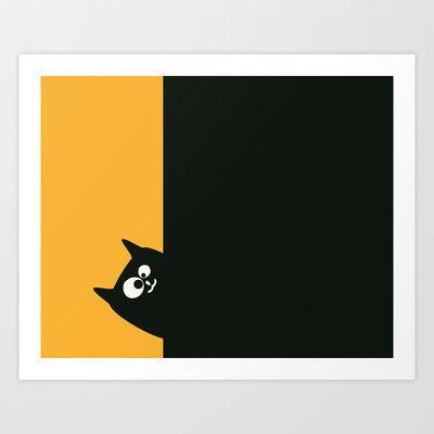 Oscar The Cat Watching You Art Print by Jacek Muda - $13.00 #illustration #vector #cat #cats