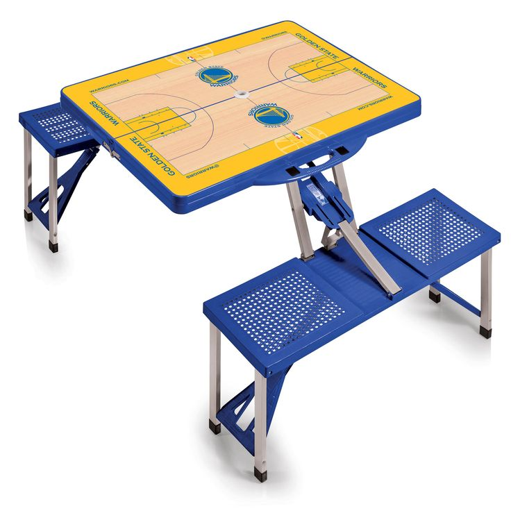 The Golden State Warriors Portable Picnic Table Sport with folding bench seats for four
