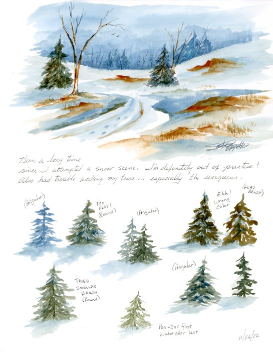 susan bronsak watercolors and sketching: Practicing Snow and Trees