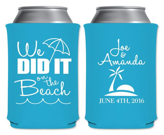 "Wedding Can Coolers Beverage Insulators Koozies Personalized Beach Wedding Favors - ""We Did It On The Beach"" Coolers by ""ThatWedShop"" on Etsy 