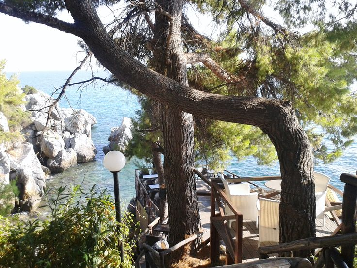 Breathtaking views from a multi-level cafe at Loutra Ayia's Paraskevi's Halkidiki